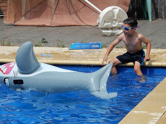 Young boy plays in a pool with an inflatable shark pool toy