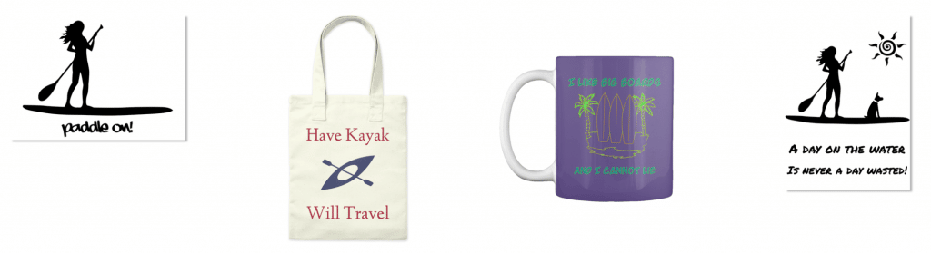 Kayak and SUP themed totes, stickers, and coffee mugs