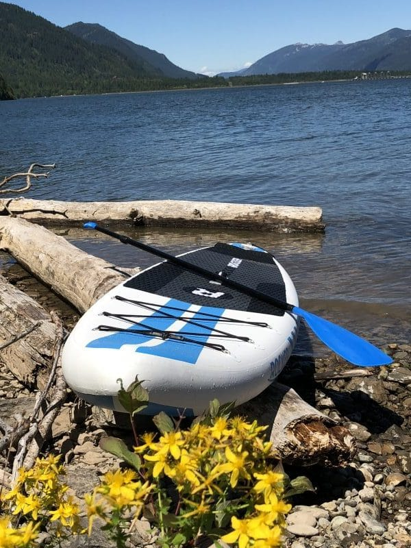 The iRocker Sport rests upon some washed up logs on a rocky island on the Noxon Rapids Reservoir in Montana