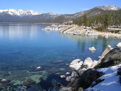 Large, smooth rocks dot the bottom of a shallow shore with snowy mountaintops in the distance at Lake Tahoe, California