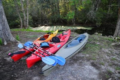 Two sit inside and one sit on top kayaks site side-by-side next to a wooded river bank