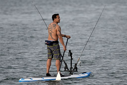 Paddle board fisherman