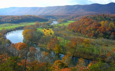 Aerial view of the Shenandoah River in the fall with autumn colors on the trees