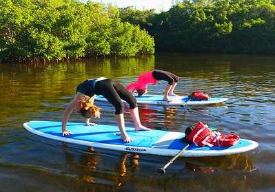 Two women pose in backbends on their SUPs in a river surrounded by mangroves