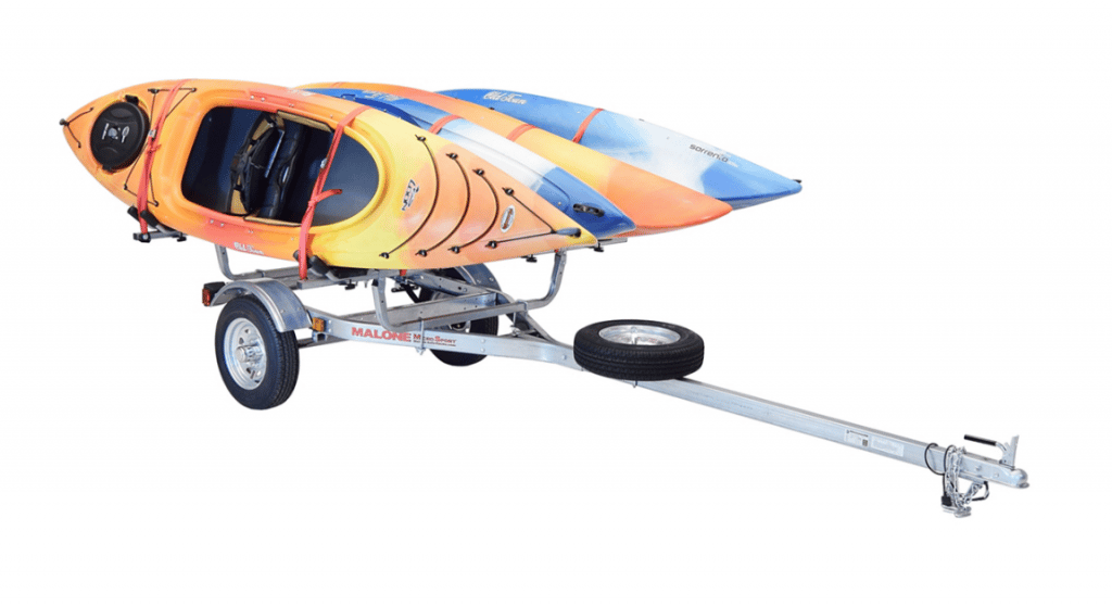 Malone MicroSport Trailer with 4 kayaks strapped to it